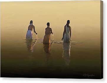 Bathing In The Holy River By Dominique Amendola Canvas Print by Dominique Amendola