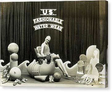 Bathing Suits Store Display Canvas Print by Underwood Archives