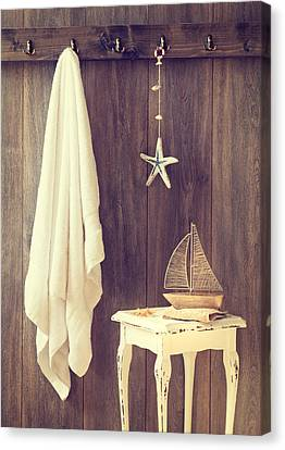 Toy Boat Canvas Print - Bathroom Interior by Amanda Elwell