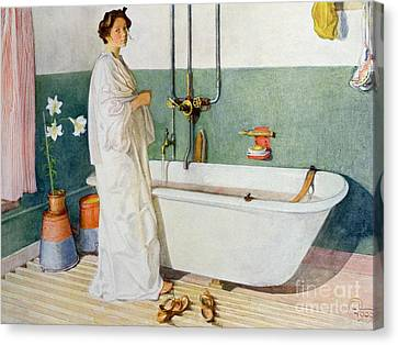 Bathroom Scene Lisbeth Canvas Print by Carl Larsson
