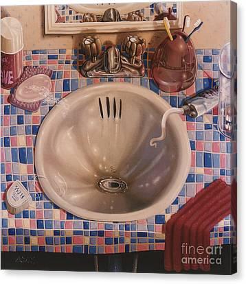 Bathroom Sink 1991  Skewed Perspective Series 1991 - 2000 Canvas Print