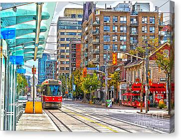 Bathurst Street Car Coming North To Queen Street Canvas Print by Nina Silver
