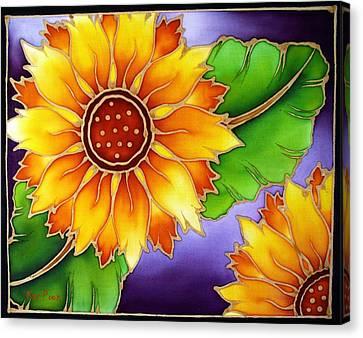 Batik Sunflower Canvas Print by Kat Poon
