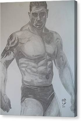 Canvas Print featuring the drawing Batista by Justin Moore