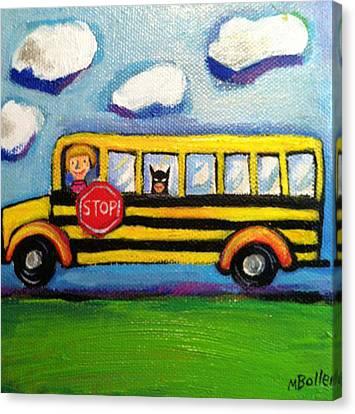 School Bus Canvas Print - Batman Bus Ride by Melissa Bollen