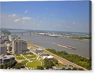 Baton Rouge's Mississippi River Canvas Print by Helen Haw