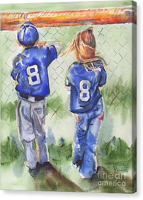Baseball Canvas Print - Batter Up by Maria's Watercolor