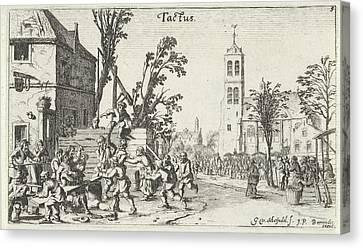 Battle At An Inn Touch, Gillis Van Scheyndel Canvas Print by Gillis Van Scheyndel (i) And Johannes Pietersz. Berendrecht