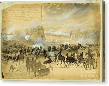 Battle At White Oak Swamp Bridge Canvas Print by Celestial Images