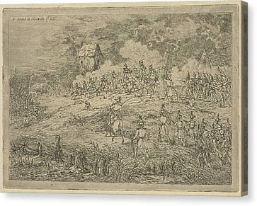 Battle Between Cavalry And Infantry, Print Maker Gerardus Canvas Print