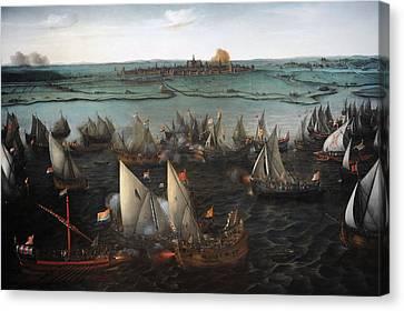Battle Between Dutch And Spanish Ships On The Haarlemmermeer, 1629, By Hendrik Cornelisz Vroom Canvas Print by Bridgeman Images