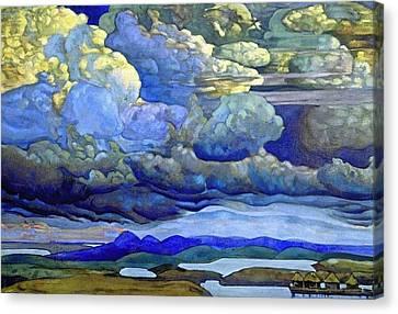 Battle In The Heavens Canvas Print by Nicholas Roerich