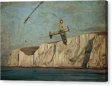 Canvas Print featuring the painting Battle Of Britain Over Dover by Nop Briex