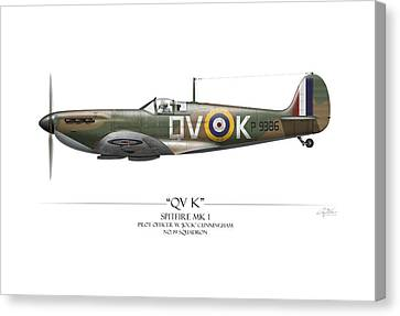 Profile Canvas Print - Battle Of Britain Qvk Spitfire - White Background by Craig Tinder