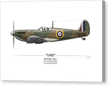 Battle Of Britain Spitfire X4110 - White Background Canvas Print by Craig Tinder