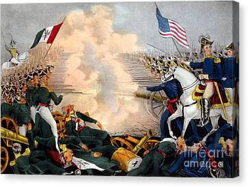 Battle Of Buena Vista Mexican-american Canvas Print by Photo Researchers