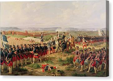 Battle Of Fontenoy, 11 May 1745 The French And Allies Confronting Each Other Canvas Print by Felix Philippoteaux