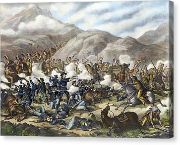 Battle Of Little Big Horn Canvas Print by Granger