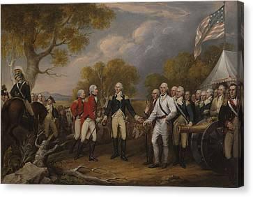 Battle Of Saratoga, The British General John Burgoyne Surrendering Canvas Print by John Trumbull
