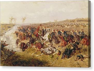 Battle Of Schweinschaedel, 29th July 1866 Oil On Canvas Canvas Print by Alexander Ritter von Bensa