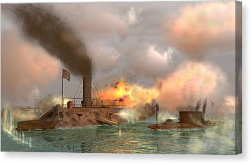 Battle Of The Ironclads Canvas Print by Walter Colvin