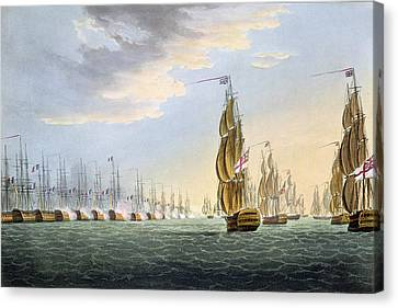Battle Of The Nile Canvas Print by Thomas Whitcombe