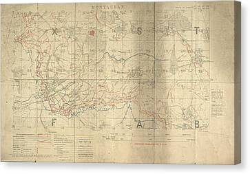 Battle Of The Somme Trench Map Canvas Print