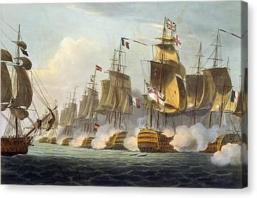 Battle Of Trafalgar Canvas Print by Thomas Whitcombe
