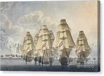 Battle Of Trafalgar Canvas Print by Robert Dodd