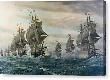 Battle Of Virginia Capes Canvas Print by Celestial Images