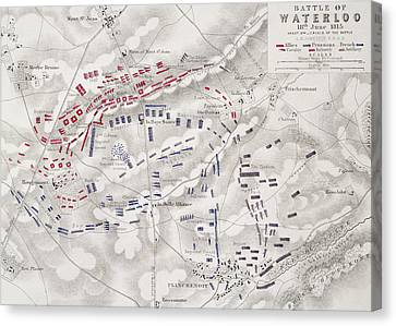 Battle Of Waterloo Canvas Print by Alexander Keith Johnston