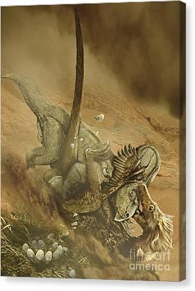 Battle Scene Between A Velociraptor Canvas Print by Jan Sovak