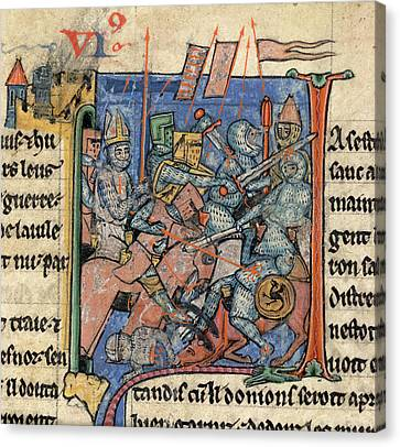 Battle Scene Outside Antioch Canvas Print by British Library