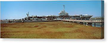 Battleship At A Museum, Patriots Point Canvas Print by Panoramic Images