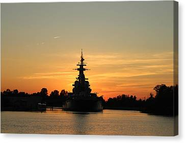 Canvas Print featuring the photograph Battleship At Sunset by Cynthia Guinn