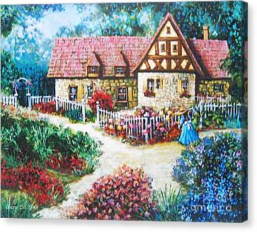 Bavarian Cottage Canvas Print by Cheryl Del Toro