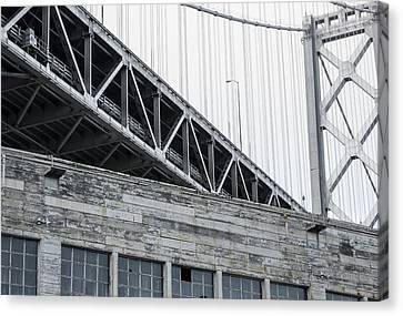 Bay Bridge And Building Canvas Print