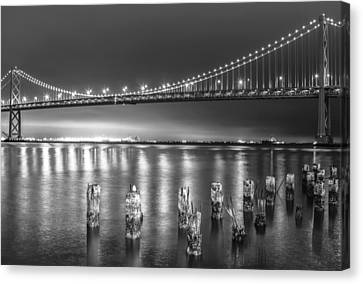 Bay Bridge Black And White Canvas Print