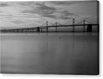 Bay Bridge Bw Canvas Print by Carolyn Stagger Cokley