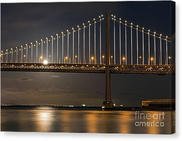 Bay Bridge Moon Rising Canvas Print