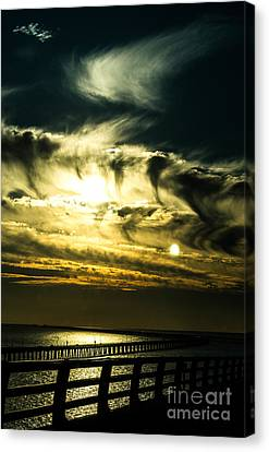 Bay Bridge Sunset Canvas Print by Angela DeFrias