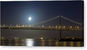 Business Canvas Print - Bay Bridge Supermoon by Bryant Coffey
