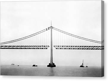 Bay Bridge Under Construction Canvas Print by Underwood Archives