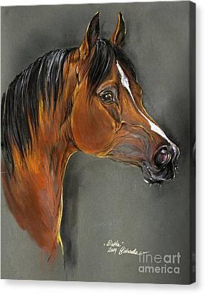 Bay Horse Canvas Print - Bay Horse Portrait by Angel  Tarantella