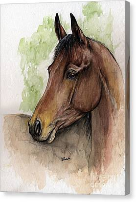 Bay Horse Canvas Print - Bay Horse Portrait Watercolor Painting 02 2013 A by Angel  Tarantella