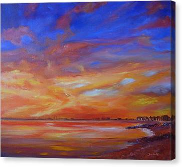 Bay Of Hythe On Fire Canvas Print