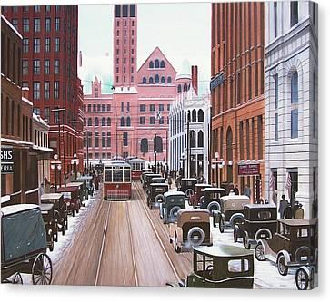 Bay Street Christmas Eve 1924 Canvas Print by Kenneth M  Kirsch