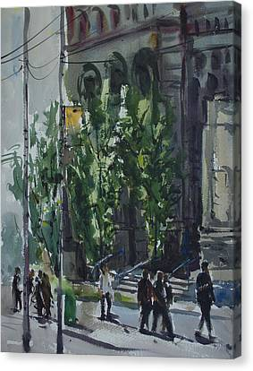 Canvas Print featuring the painting Bay Street_03.jpg by Helal Uddin