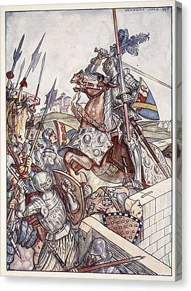 Bayard Defends The Bridge, Illustration Canvas Print by Herbert Cole