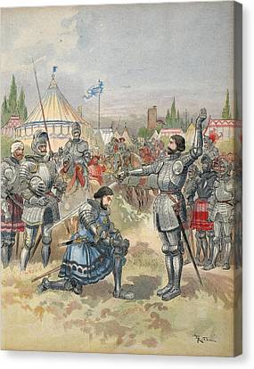 Bayard Knighting Francis I Canvas Print by Albert Robida